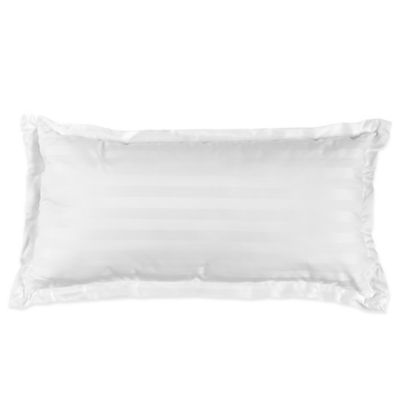 500-Thread-Count Damask Stripe Oblong Throw Pillow in White
