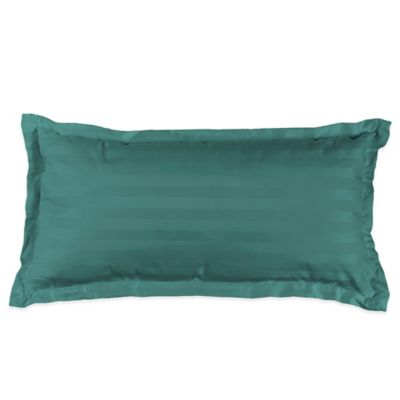 500-Thread-Count Damask Stripe Oblong Throw Pillow in Hunter Green