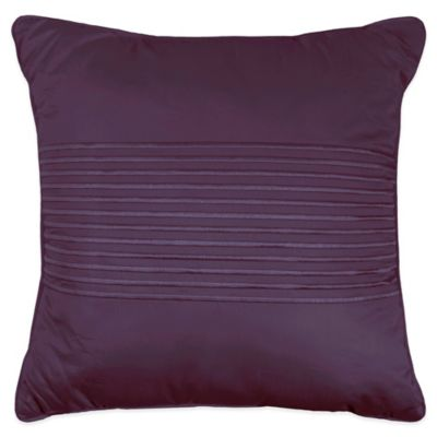 500-Thread-Count Damask Stripe Square Throw Pillow in Purple