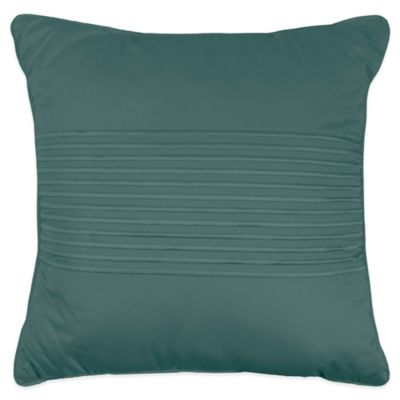 500-Thread-Count Damask Stripe Square Throw Pillow in Hunter Green