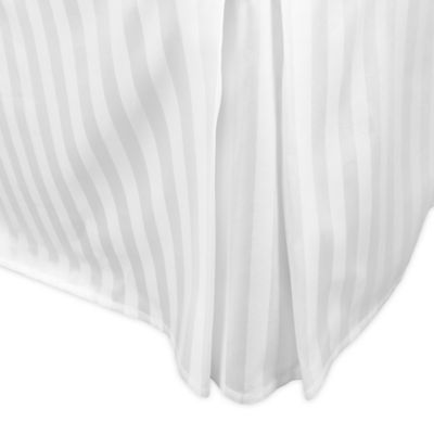 500-Thread-Count Damask Stripe Twin Bed Skirt in White