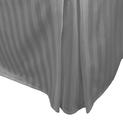500-Thread-Count Damask Stripe King Bed Skirt in Sage