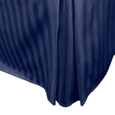 500-Thread-Count Damask Stripe Twin Bed Skirt in Navy