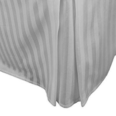 500-Thread-Count Damask Stripe Twin Bed Skirt in Silver