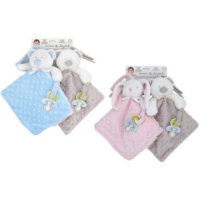 NuNu Blue Dog/Gray Bear Microfleece Blankets (2-Pack)