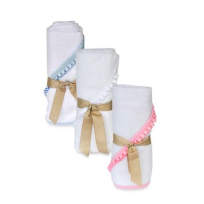 Little Ashkim Newborn Hooded Turkish Towel in White/Pink