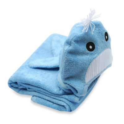 Little Ashkim Size 0-24M Whale Hooded Turkish Towel in Blue