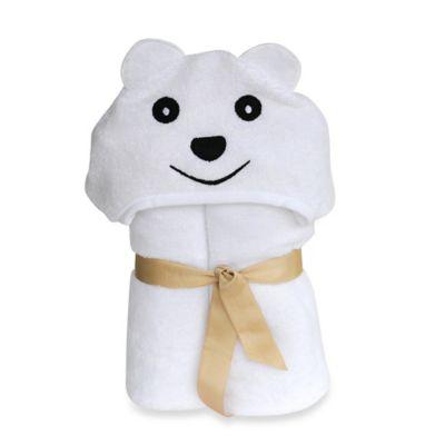 Little Ashkim Size 2T-5T Bear Hooded Kid's Turkish Towel in White