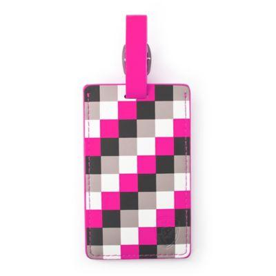 Pink Check Luggage Tag