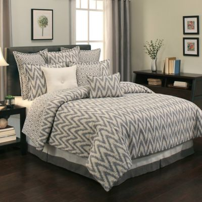 Sherry Kline Maytown Jacquard Reversible King Comforter Set in Grey