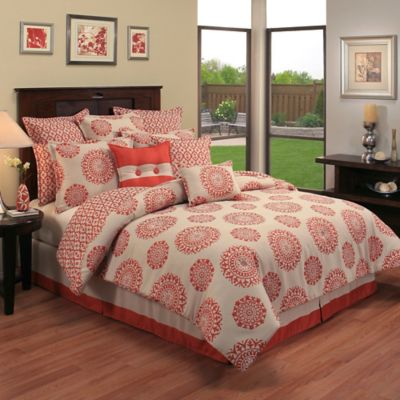 Sherry Kline Constantine Jacquard Reversible Queen Comforter Set in Coral