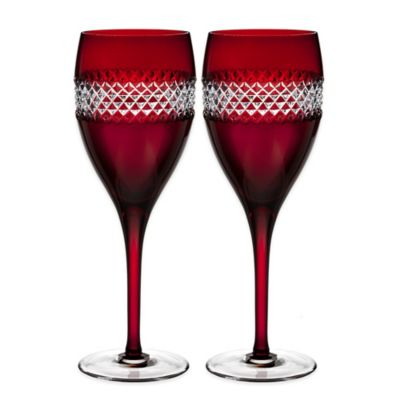 John Rocha at Waterford Red Cut Wine Glasses (Set of 2)