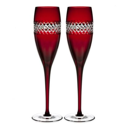 John Rocha at Waterford Red Cut Toasting Flutes (Set of 2)