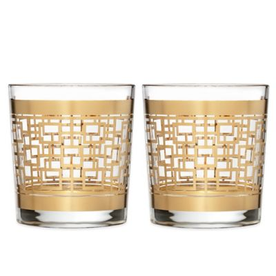 Waterford® Mixology Mad Men Edition Holloway Double Old Fashioned Glasses in Gold (Set of 2)
