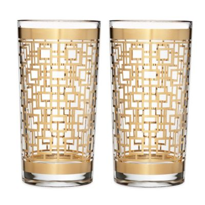 Waterford® Mixology Mad Men Edition Holloway Highball Glasses in Gold (Set of 2)