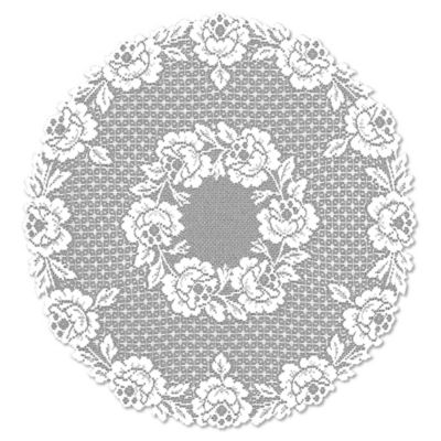 Heritage Lace® Cottage Rose 30-Inch Round Table Topper in White