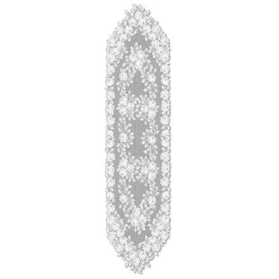 Heritage Lace® Tea Rose 60-Inch Table Runner in White