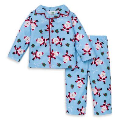 Little Me® Size 4T 2-Piece Santa Long-Sleeve Pajama Set in Light Blue