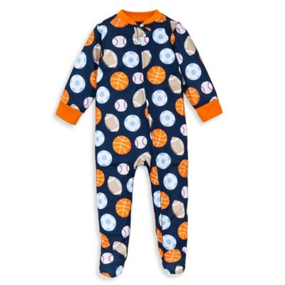 Little Me® Size 12M Sporty Footed Pajama in Navy