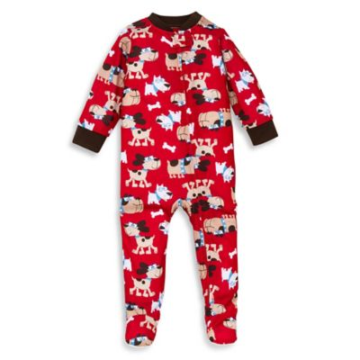 Little Me® Size 12M Dog Print Footed Pajama in Red