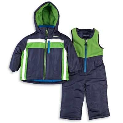 London Fog® Size 4T 2-Piece Hooded Snowsuit Jacket and Pant Set in Navy/Green