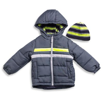 London Fog® Size 18M 2-Piece Stripe Bubble Coat and Hat Set in Grey