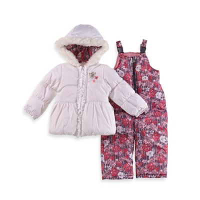 London Fog® Size 18M 2-Piece Floral Hooded Snowsuit Jacket and Pant Set in Ivory