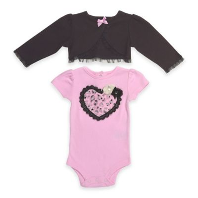 Baby Starters® Newborn 2-Piece Bodysuit and Shrug Set in Pink/Black