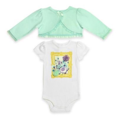 Baby Starters® Newborn 2-Piece Short Sleeve Floral Bodysuit and Jacket Set in Ivory/Mint