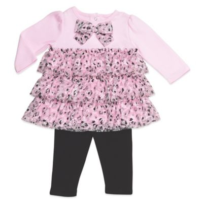 Baby Starters® Size 9M 2-Piece Leopard Ruffle Long Sleeve Tunic and Legging Set in Pink/Black