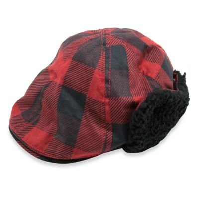 Aquarius Limited Toddler Sherpa-Lined Ear Flap Plaid Cabbie Hat in Red