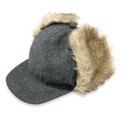 Aquarius Limited Newborn Boys Faux Fur Ear-Flap Herringbone Baseball Hat in Grey