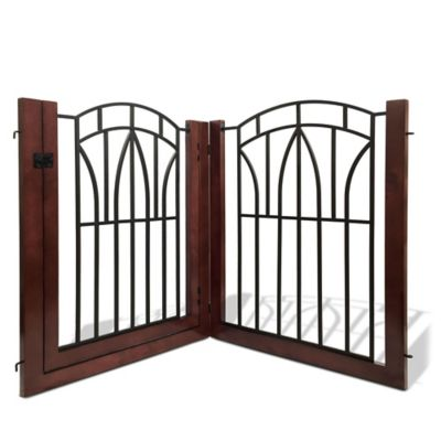 Bombay™ Arlington Pet Gate with Door in Black/Mahogany
