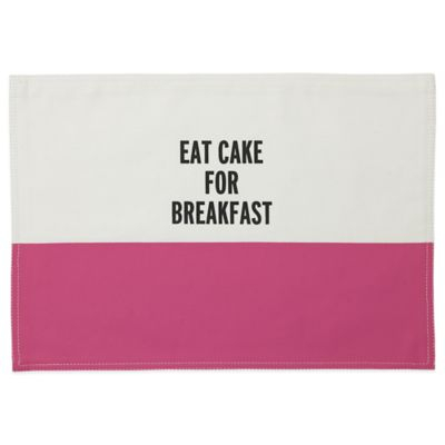 "kate spade new york ""EAT CAKE FOR BREAKFAST"" Placemat in Hot Pink"