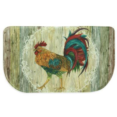 Bacova Rooster Strut Memory Foam Slice Kitchen Mat in Beige
