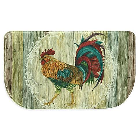 Bacova Rooster Strut 18 Inch X 30 Inch Memory Foam Slice Kitchen Mat In Beige Www