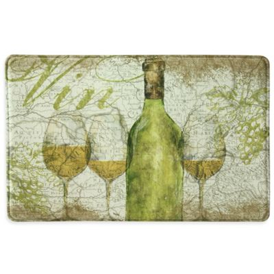 Vino Memory Foam Kitchen Mat in Green