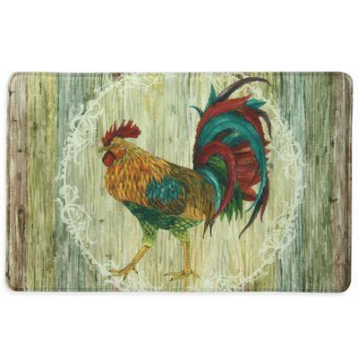 Bacova Rooster Strut 23-Inch x 36-Inch Memory Foam Kitchen Mat in Beige