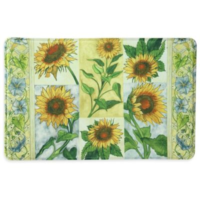 Bacova Sun Worshippers 23-Inch x 36-Inch Memory Foam Kitchen Mat in Yellow