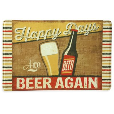"Bacova ""Happy Days Are BEER AGAIN"" 23-Inch x 36-Inch Memory Foam Kitchen Mat in Tan"