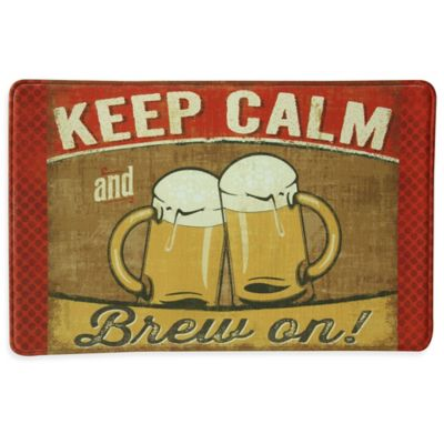 "Bacova ""KEEP CALM and Brew On"" Memory Foam Kitchen Mat in Tan"