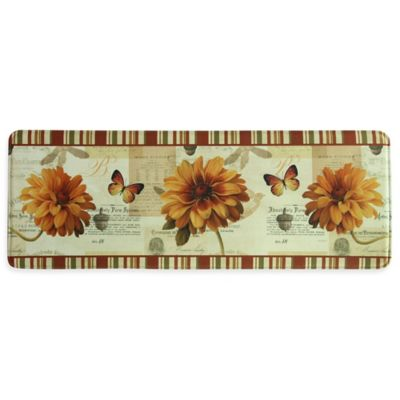 "Bacova 55-Inch ""Fall In Love"" Memory Foam Kitchen Mat in Orange"