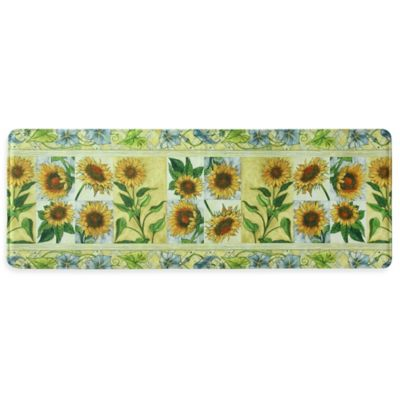 Bacova 20-Inch x 55-Inch Sun Worshippers Memory Foam Kitchen Mat in Yellow
