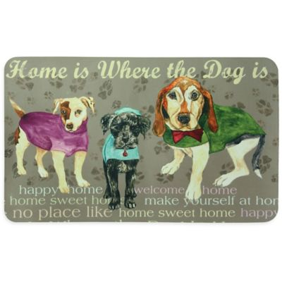 "Bacova ""Home is Where the Dog is"" Kitchen Mat in Tan"