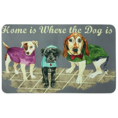 "Bacova ""Home is Where the Dog is"" Kitchen Mat in Grey"