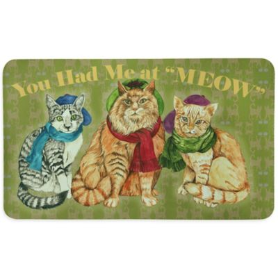 "Bacova ""You Had Me at MEOW"" Kitchen Mat in Green"