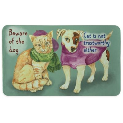 "Bacova ""Beware of Dog and Cat"" Multicolor Kitchen Mat"