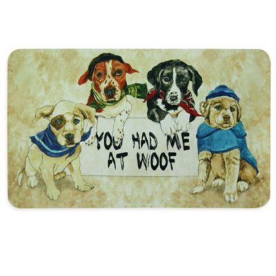 "Bacova ""You Had Me at Woof"" Kitchen Mat in Beige"