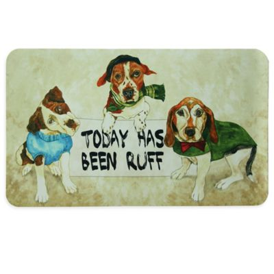 "Bacova ""TODAY HAS BEEN RUFF"" Kitchen Mat in Beige"
