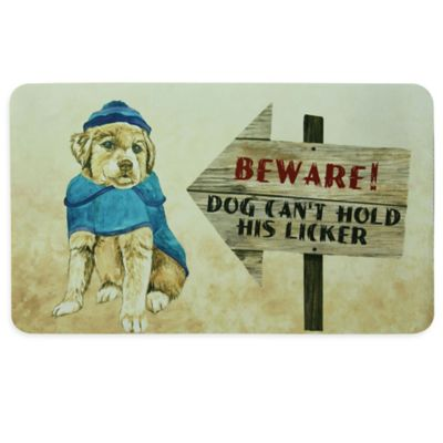 "Bacova ""BEWARE! DOG CAN'T HOLD HIS LICKER"" Kitchen Mat in Beige"